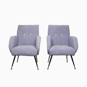 Malvenfarbene Italienische Sessel, 1950er, 2er Set