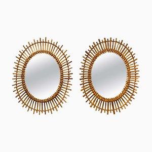 Mid-Century Oval Rattan Mirrors, Set of 2