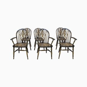English Beech Chairs & Armchairs, 1970s, Set of 6