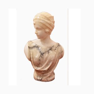 Antique Alabaster Woman with Turban Sculpture by Pugi, 19th Century