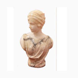Escultura de mujer antigua de alabastro con turbante de Pugi, siglo XIX