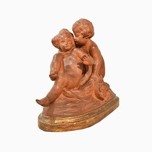 Art Deco Terracotta Sculpture with 2 Putti Playing, 20th Century