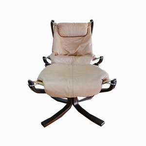 Leather Falcon Chair with Foot Chair by Sigurd Ressell for Vatne Möbler, Norway, Set of 2