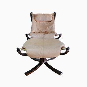 Leder Falcon Chair mit Fußhocker von Sigurd Ressell für Vatne Möbler, Norwegen, 2er Set