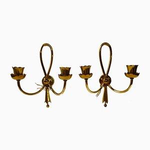 Italienische goldene Messing Wandlampen von Arredoluce, 1940er, 2er Set