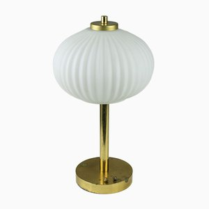 Mid-Century Opaline & Brass Table Lamp