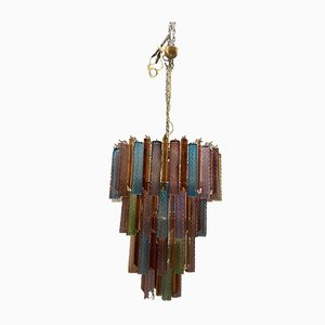 Large Multi Colored Murano Glass Prism Chandelier, 1970s
