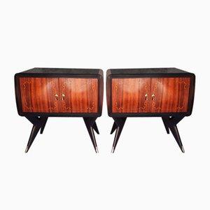 Palisander Tische mit Glasplatten, Italien, 1958, 2er Set
