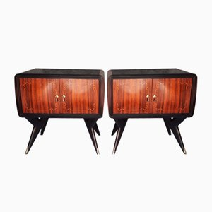 Rosewood Tables with Glass Tops, Italy, 1958, Set of 2