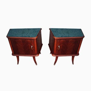 Rosewood and Mahogany Bedside Tables with Brass Handles and Feet & Green Colotrato Back Glass, 1950s, Set of 2