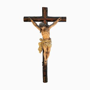 19th Century Monumental Wooden Crucified Christ