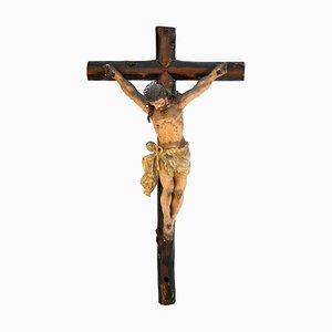 Monumentaler gekreuzigter Christ aus Holz, 19. Jh