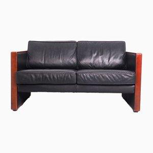2-Sitzer Sofa aus Leder & Kirschholz von Walter Knoll / Wilhelm Knoll, 1970er