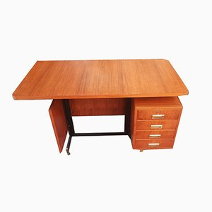 Center Desk with 4 Drawers in Teak, Italy, 1960s