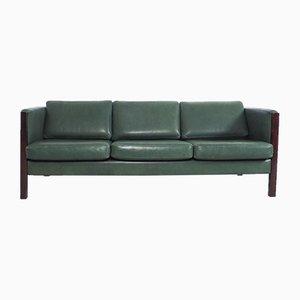 Vintage Danish Green Leather Sofa, 1960s
