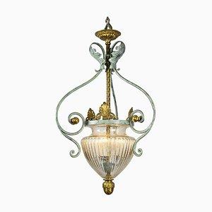 Vintage Wrought Iron and Blown Glass Lantern