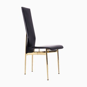 Black Leather and Brass S44 Dining Chairs from Fasem, 1990s, Set of 7