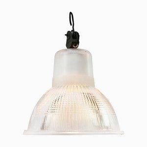 Vintage Industrial Holophane Glass Hanging Light