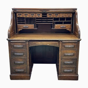 Englischer Zylinder Schreibtisch aus Eiche, 1930er