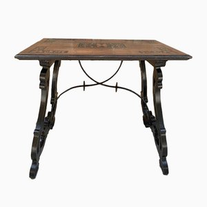 Spanish Baroque Side Table with Lyre Legs and Marquetry Top, Early 19th Century