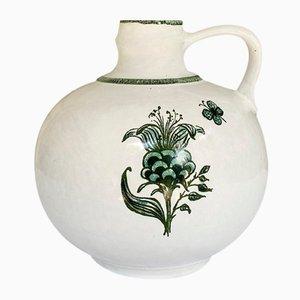 Rustikale florale Vintage Modell 9017 Keramikvase von Strehla, 1970er