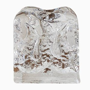 Vintage Ice Block Candleholder in Crystal Glass by Kurt Wokan for Ingrid Glass, 1970s