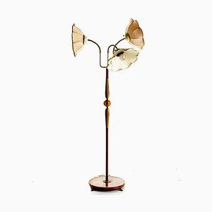 Lampada da terra Art Déco con 3 paralumi, anni '30