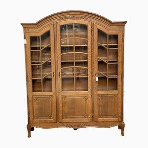 Französisches Eichenholz Bücherregal oder Schrank mit 3 Türen