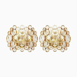 Gilded Brass and Crystal Sconces by Sciolari for Palwa, Germany, 1960s, Set of 2