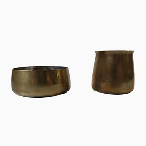 Creamer and Sugar Bowl in Brass by Henning Koppel for Georg Jensen, 1960s, Set of 2