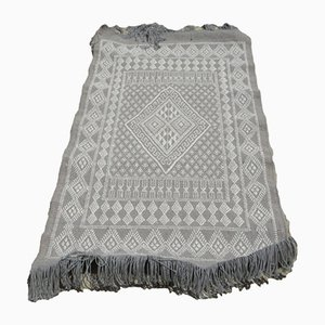 Tunisian Traditional Handmade Gray Wool Berber Kilim Rug
