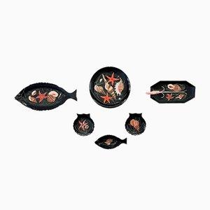 Vaisselle avec Poisson et Coquillages par Guy Trévoux pour Henriot Quimper, Set de 7