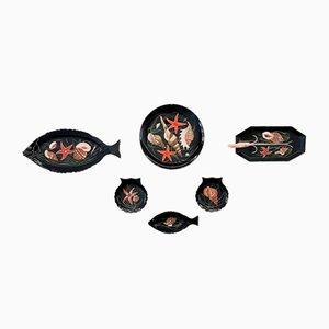 Vajilla decorada con pescado y marisco de Guy Trévoux para Henriot Quimper. Juego de 7