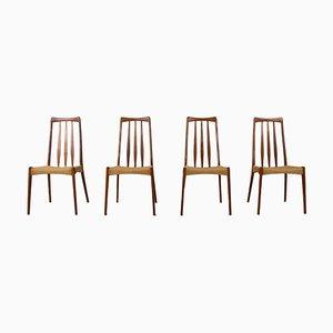 Skandinavische Vintage Esszimmerstühle aus Papierkordel & Teak, 4er Set