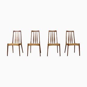 Vintage Scandinavian Dining Chairs in Paper Cord and Teak, Set of 4
