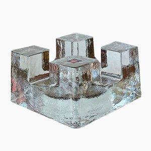 Mid-Century Ice Block Kerzenhalter aus Kristallglas von Wiesenthalhutte, 1960er