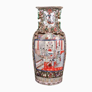 Large Matched Canton Famille Rose Representation of Court Life Vases, Set of 2