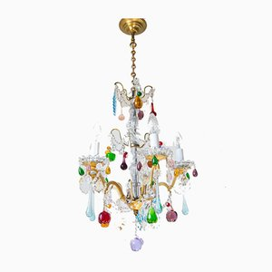 Vintage French Colorful Crystal Chandelier