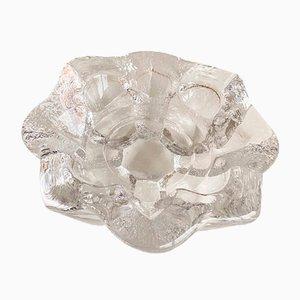 Portacandela vintage a forma di fiore in cristallo di Lars Hellsten per Orrefors, anni '70