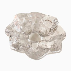 Vintage Flower-Shaped Ice Block Candle Holder in Crystal Glass by Lars Hellsten for Orrefors, 1979s