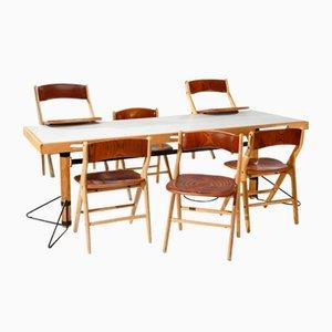 Juego de mesa y seis sillas de comedor de Marc Held para IBM. Juego de 7