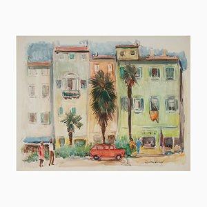 Lucien Desmaré, Southern Streetview, Acquarello con cornice