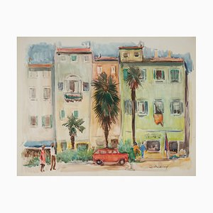 Lucien Desmaré, Southern Streetview, Framed Watercolor