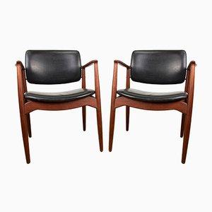 Dänische Captain Armlehnstühle aus Teak & Leder von Erik Buck für Orum Mobelfabrik, 1960er, 2er Set
