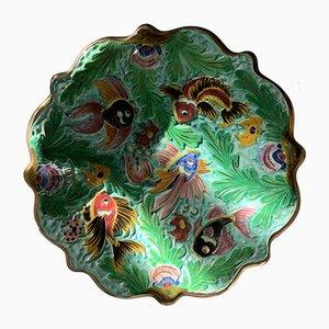 Handgefertigter grüner Keramik Salatteller mit Fischen von Cerdazur