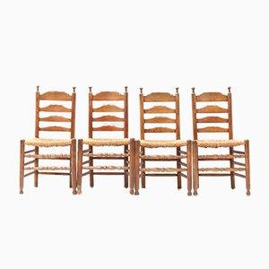 Dutch Elm Provincial Ladder-Back Chairs, 1880s, Set of 4