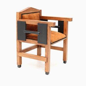 Art Deco Hague School Oak Armchair by Jacques Grubben, 1930s
