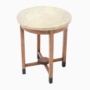 Art Deco Oak Occasional Table with Etched Brass Top, 1930s