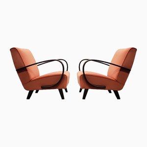 Bentwood Armchair with Orange Velvet by Jindřich Halabala