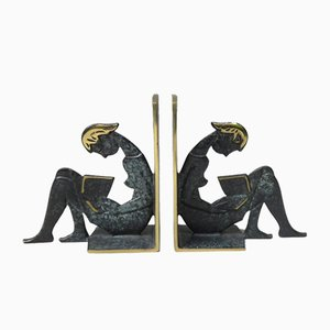 Reading Girl Bookends in Brass with Black-Green Patina, 1950s, Set of 2